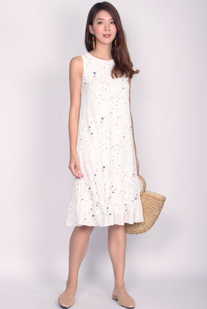 *BACKORDER* TDC Twilight Terrazzo Tiered Dress In White