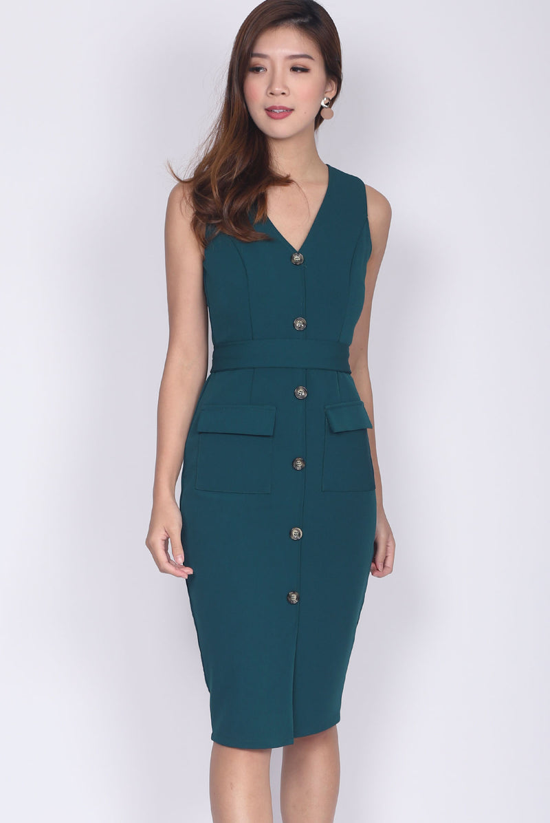 *Premium* TDC Zora Buttons Work Dress In Forest Green