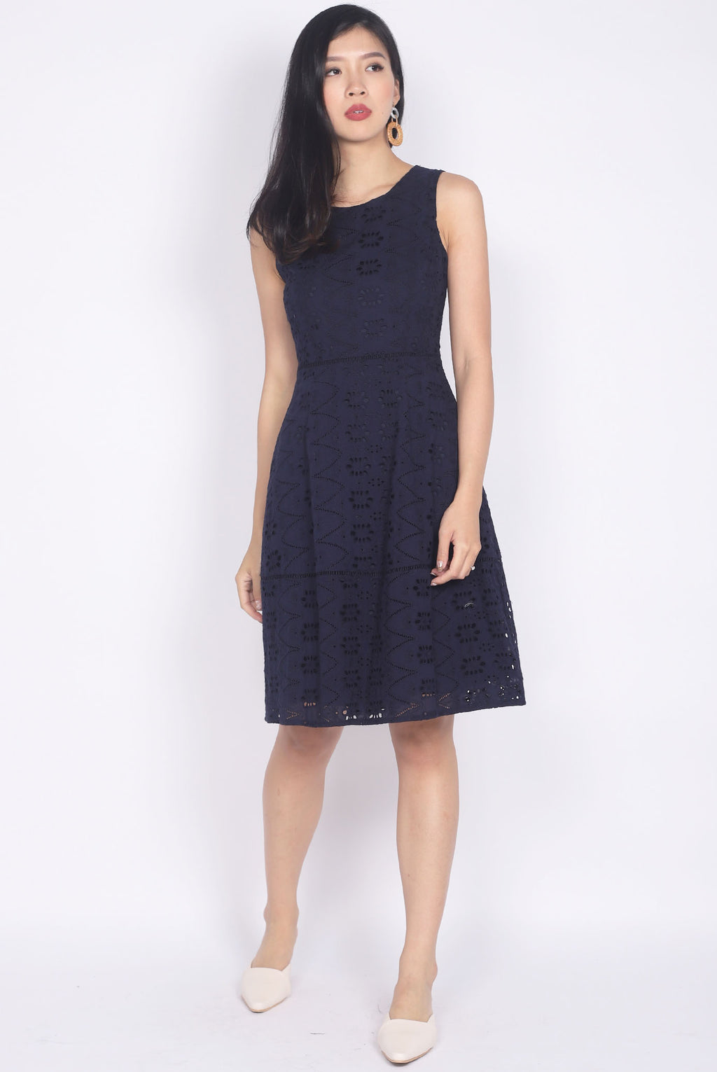 Taffeta Eyelet Dress In Navy Blue