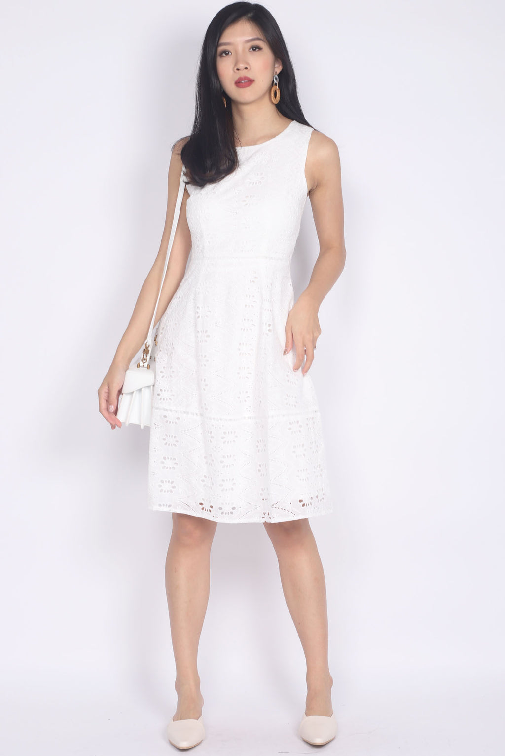 Taffeta Eyelet Dress In White