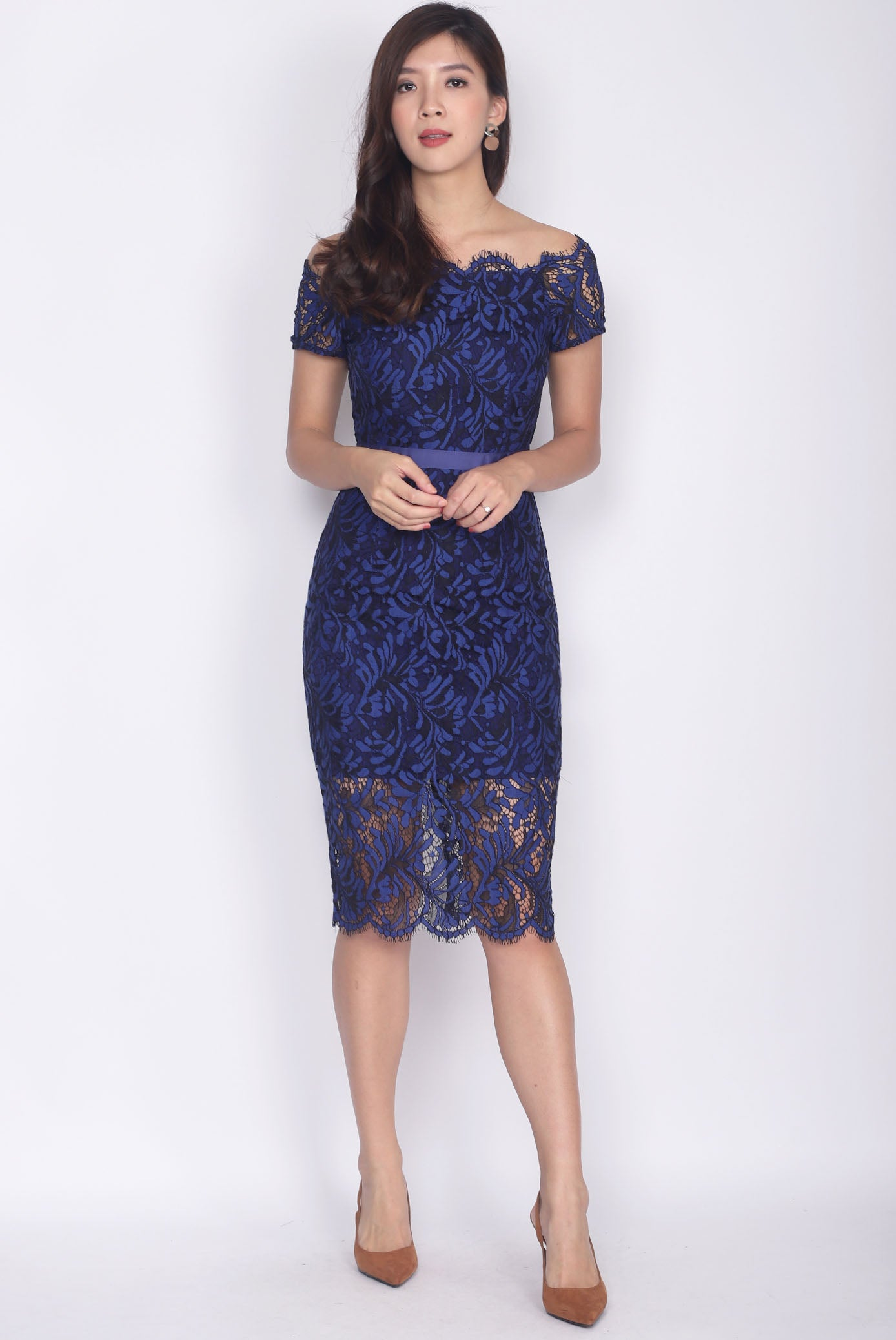 499edce45c71  Premium  Talbot Scallop Lace Off Shoulder Dress In Navy Blue – The Design  Closets