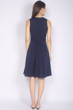 Talindra Wrap Buttons Dress In Navy Blue
