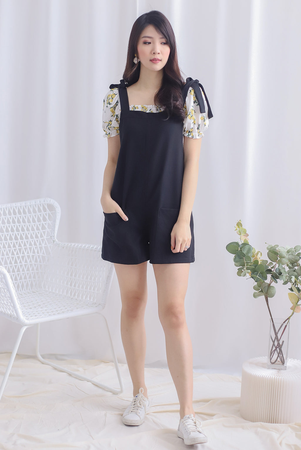 Talisea Pinafore Romper In Black
