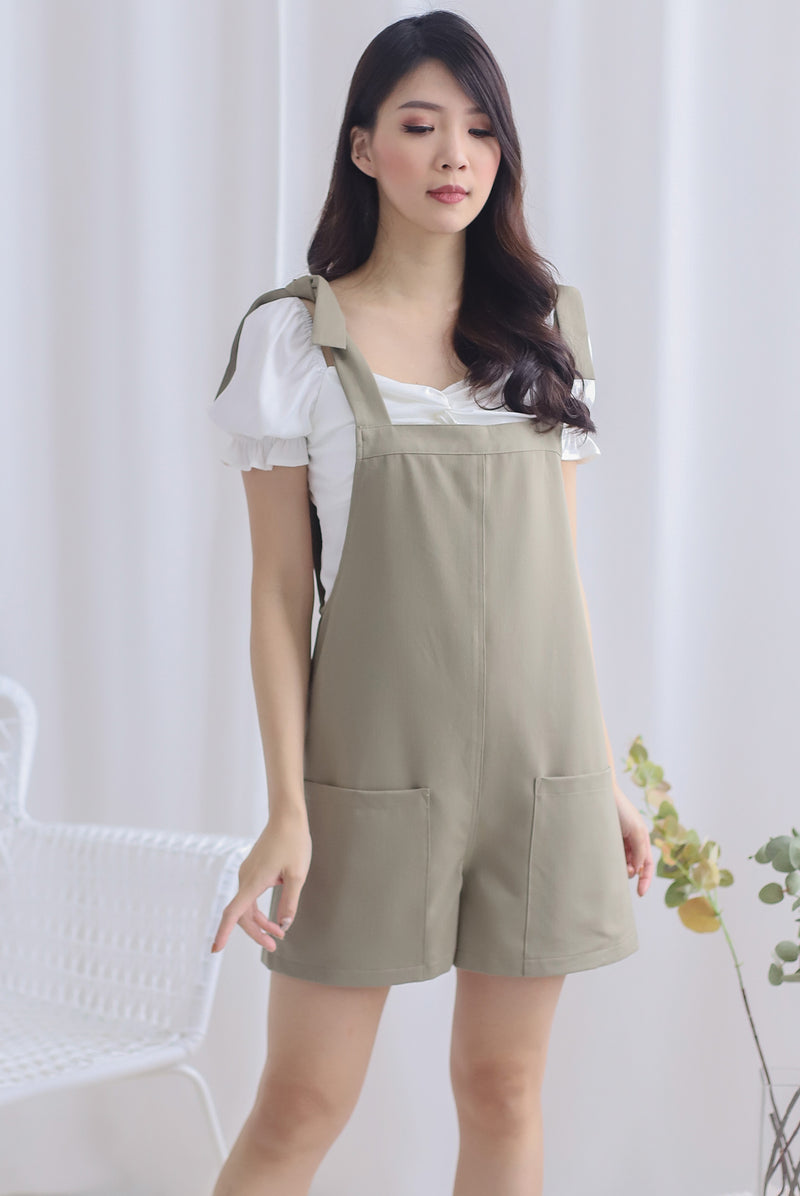 Talisea Pinafore Romper In Sage