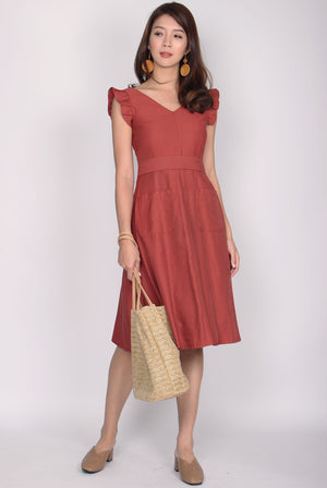 Tandy Ruffles Sleeve Pockets Dress In Tea Rose