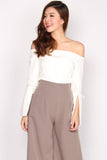 Tansy Tie Bell Sleeve Top In White