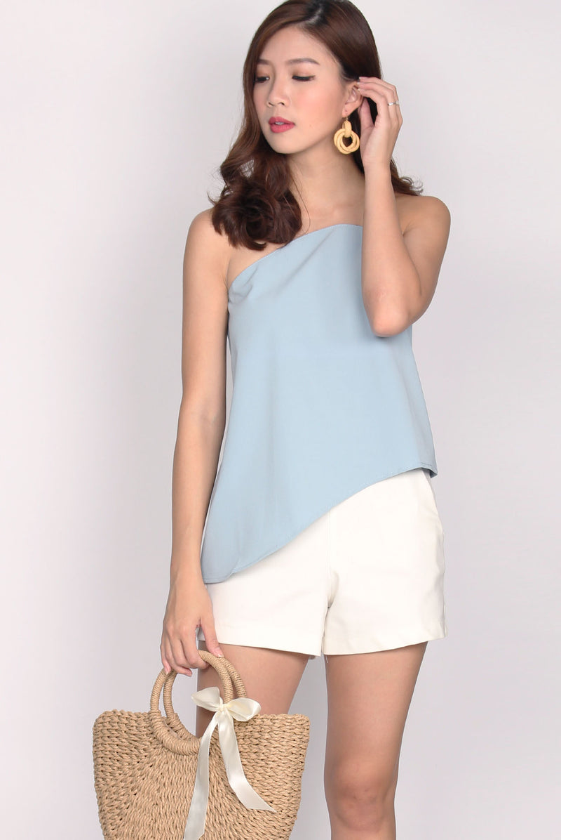 Tanya Mesh Wavy Top In Skyblue