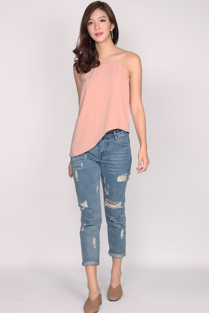 Tanya Mesh Wavy Top In Blush