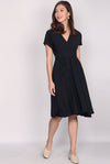 Tasmin Kimono Pockets Dress In Black