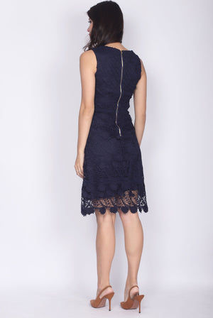 Tayler Crochet Dress In Navy Blue