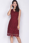 Tayler Crochet Dress In Wine Red