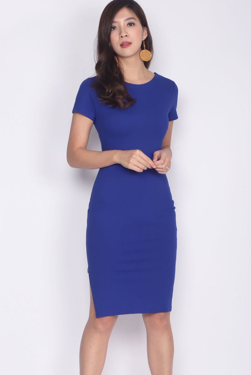 Taylor Slit Zip Pencil Dress In Indigo Blue
