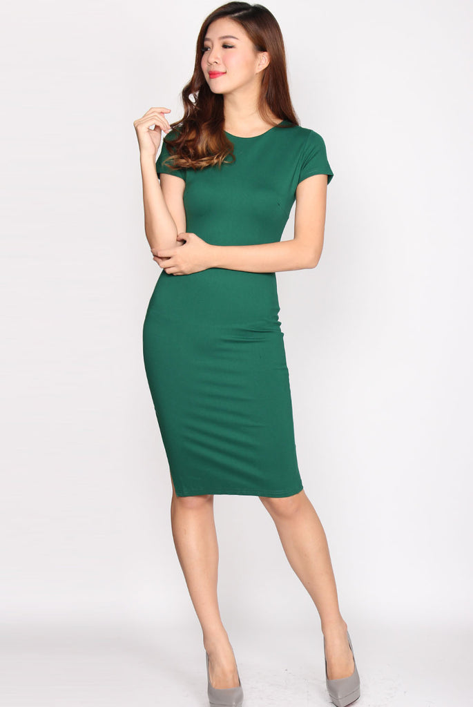 Taylor Slit Zip Pencil Dress In Green