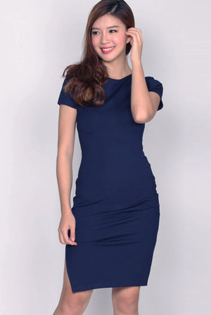 Taylor Slit Zip Pencil Dress In Navy Blue