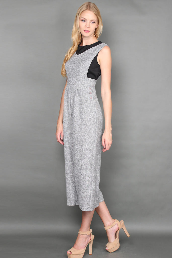 Teagan Tweed Jumpsuit In Light Grey