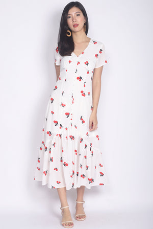 Tenaya Buttons Slit Mermaid Maxi Dress In White Cherries
