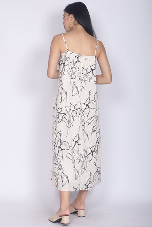*BACKORDER* Thalissa Mono Abstract Trapeze Dress In Cream