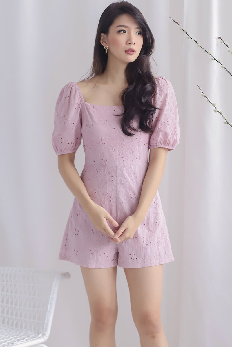 Thelia Eyelet Puffy Sleeve Romper In Blush