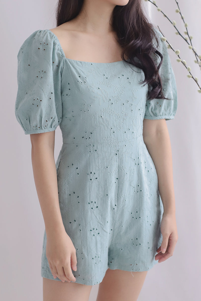 Thelia Eyelet Puffy Sleeve Romper In Seafoam