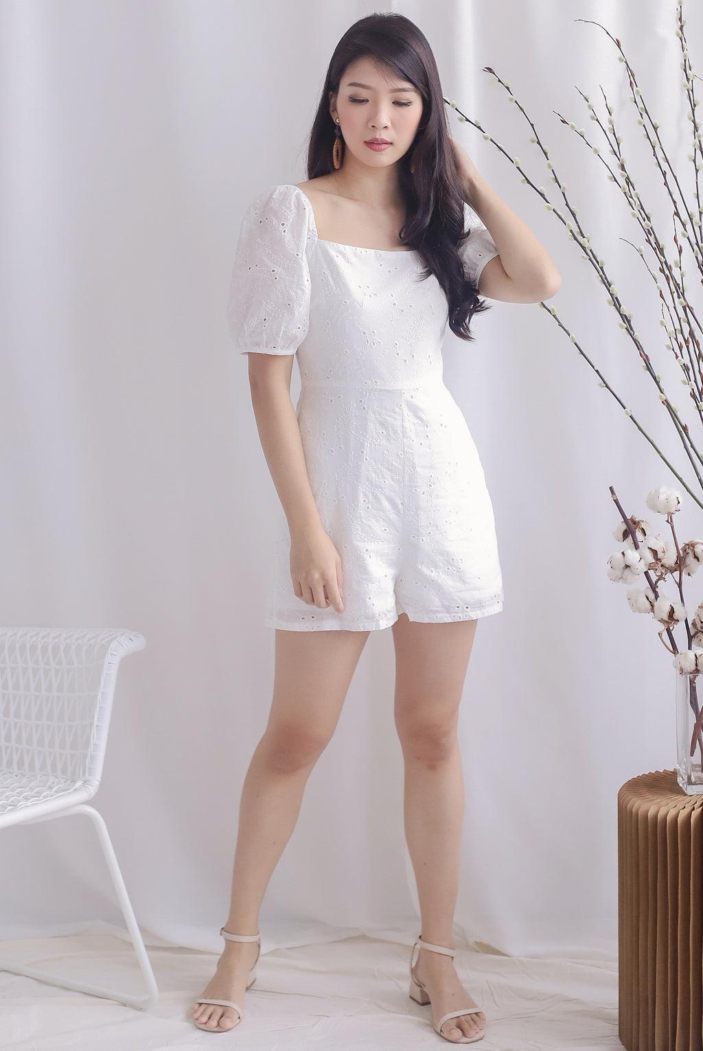 Thelia Eyelet Puffy Sleeve Romper In White