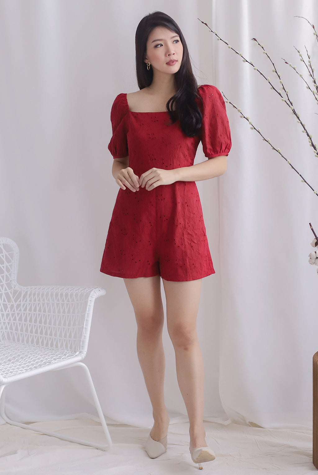 Thelia Eyelet Puffy Sleeve Romper In Wine Red