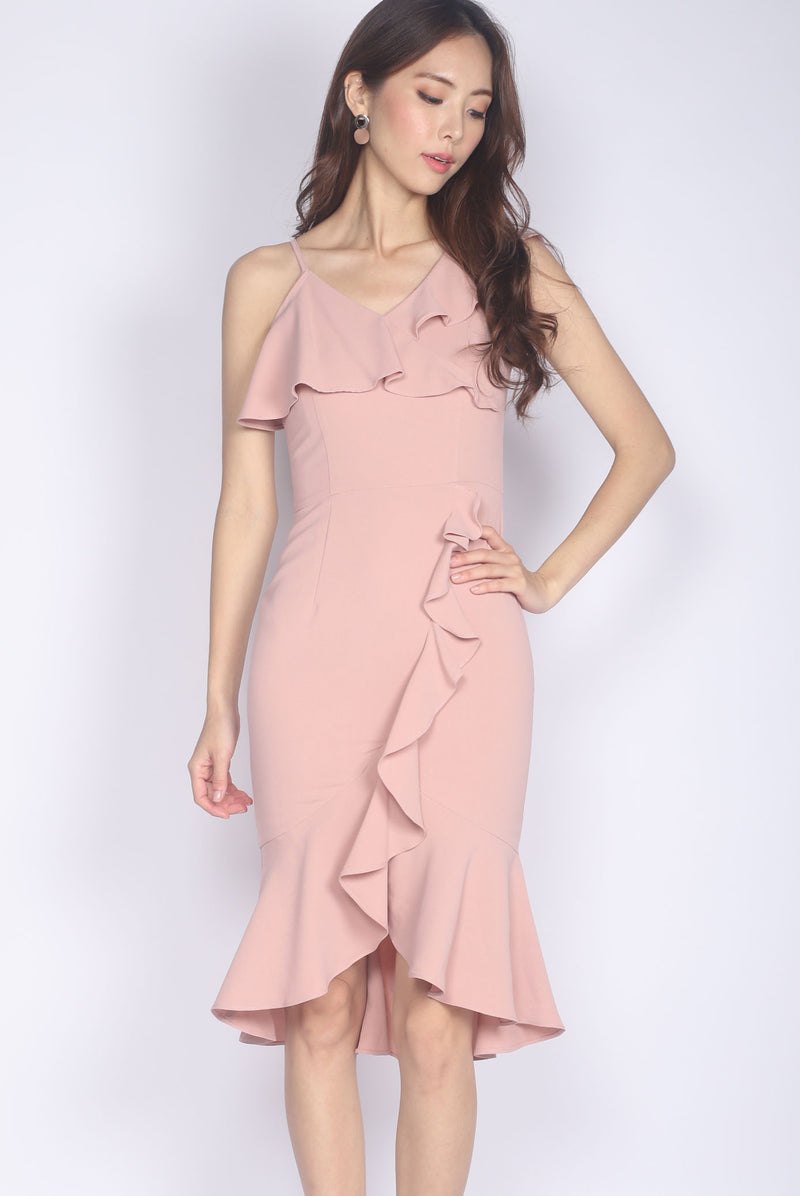 *Premium* Therese Ruffled Fishtail Dress In Blush