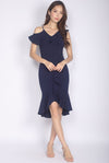 *Premium* Therese Ruffled Fishtail Dress In Navy Blue