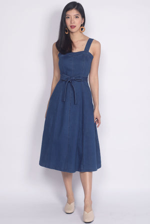 Tiphany Denim Sweetheart Dress In Dark Blue