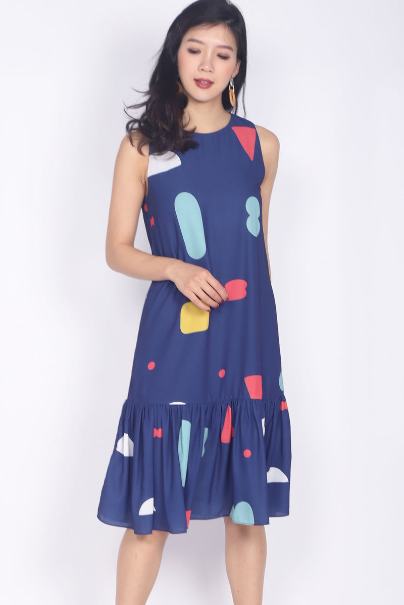 *BACKORDER* Tipper Abstract Drop Waist Dress In Navy Blue