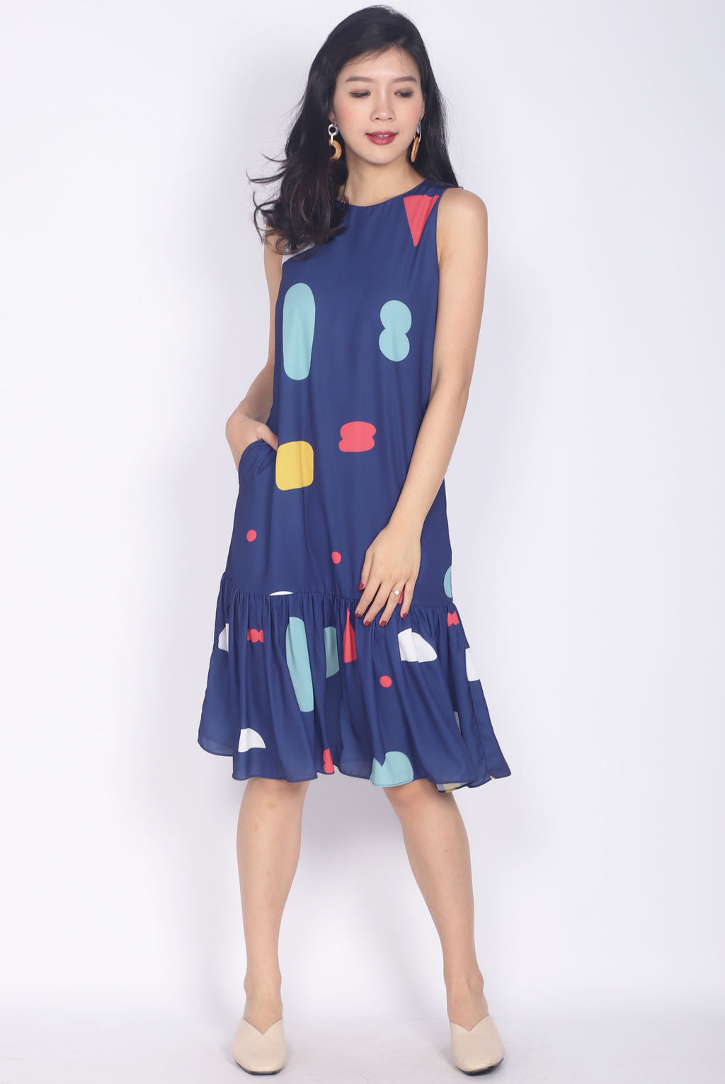 *Restock* Tipper Abstract Drop Waist Dress In Navy Blue