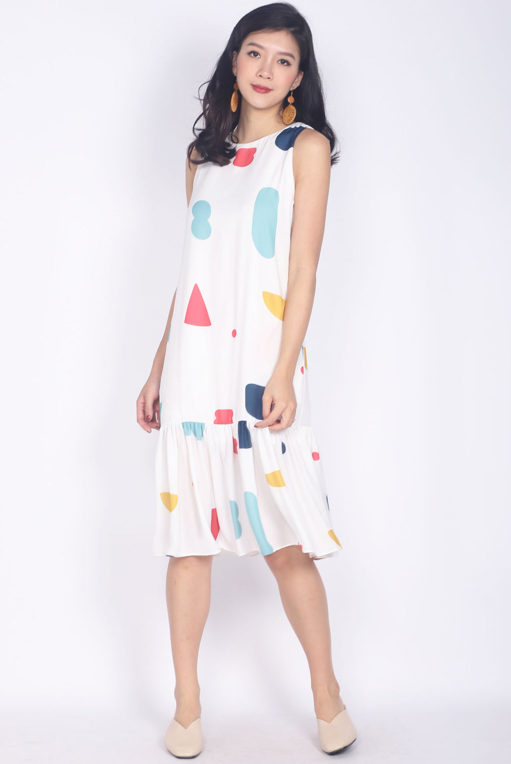 *Restock* Tipper Abstract Drop Waist Dress In White