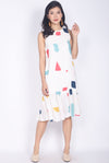 Tipper Abstract Drop Waist Dress In White