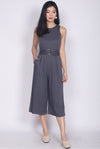 Townley Buckle Jumpsuit In Dark Grey