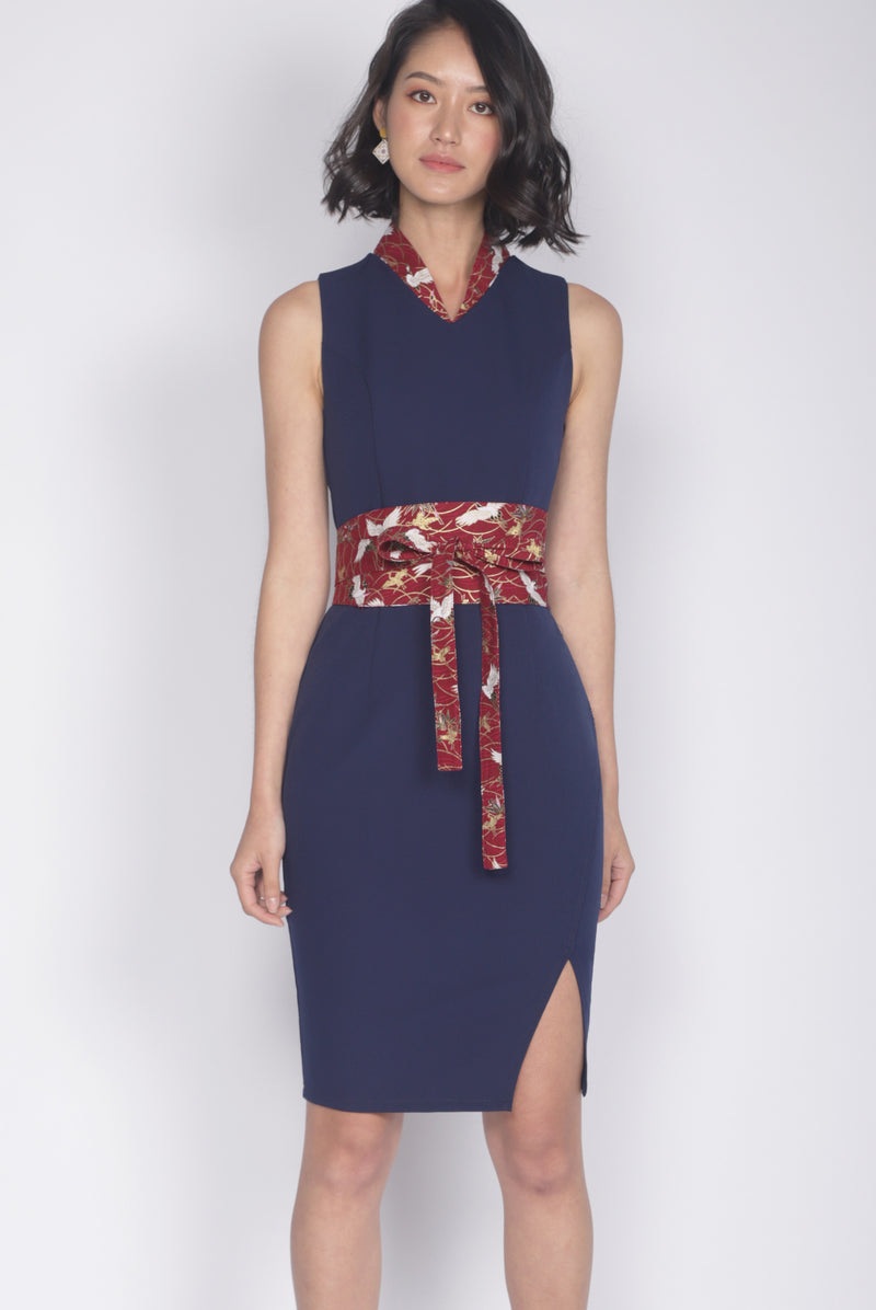 *Premium* Tulisa Removable Oriental Collar Obi Belt Dress In Navy Blue