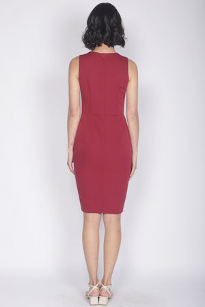 *Premium* Tulisa Removable Oriental Collar Obi Belt Dress In Wine Red
