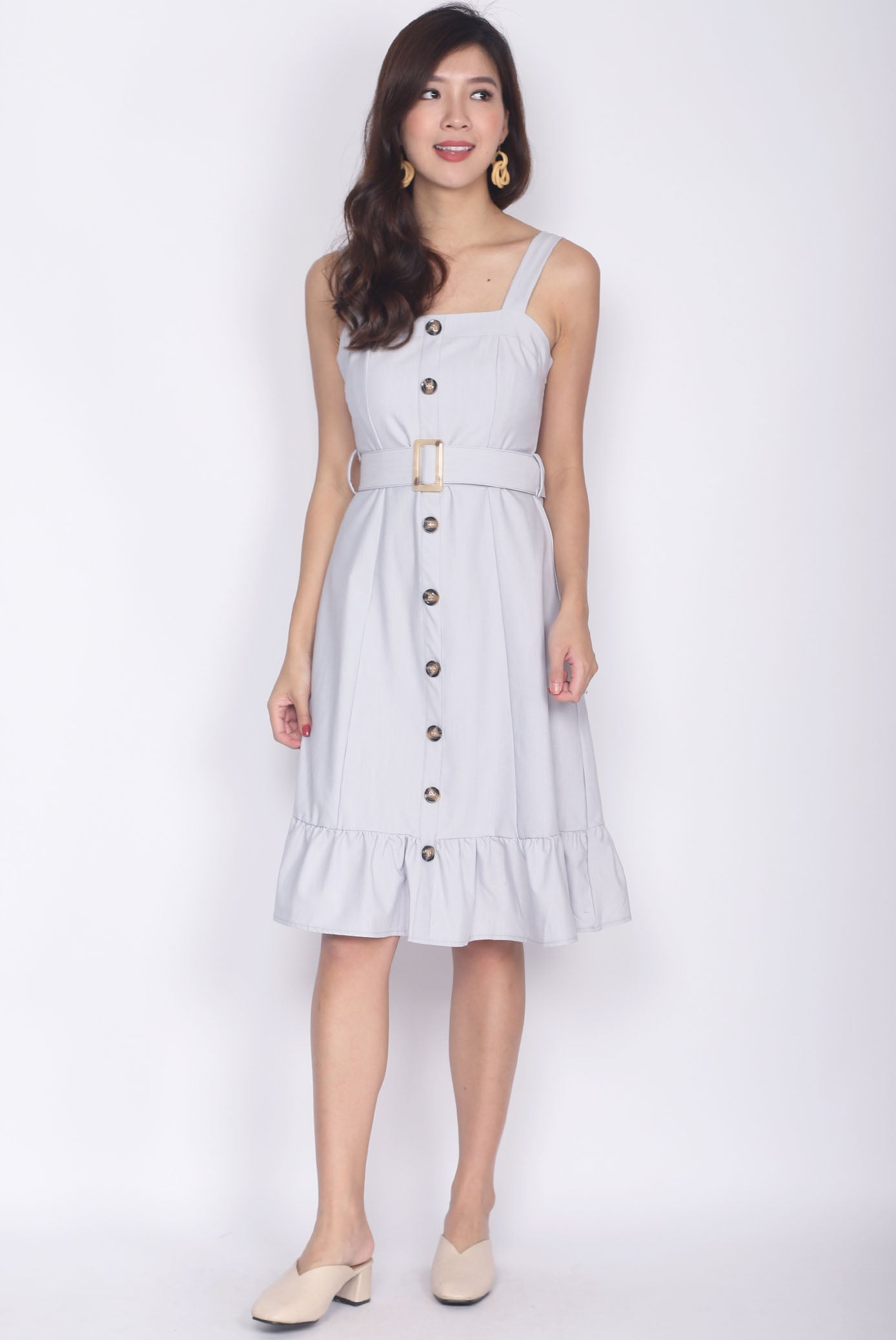 453887f256015 Umbelina Belted Buttons Dress In Light Grey – The Design Closets