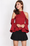 Veda Halter Drop Shoulder Top In Red