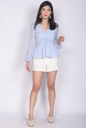 Veronica Swiss Dot Peplum Top In Blue