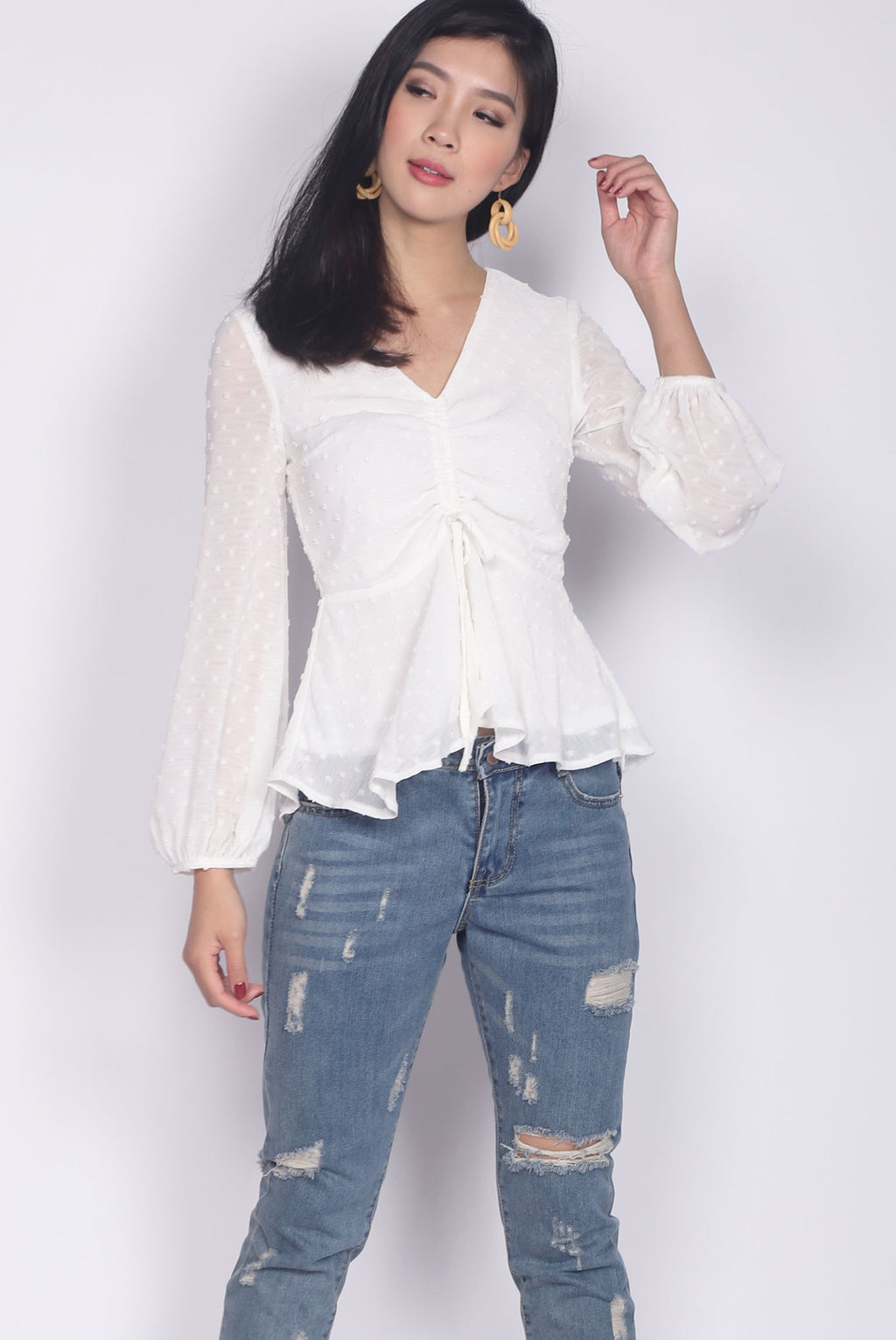 *Restock* Veronica Swiss Dot Peplum Top In White