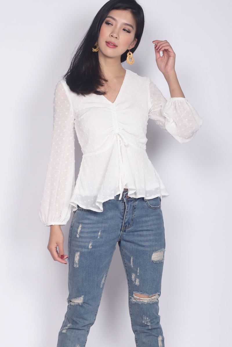 *Backorder* Veronica Swiss Dot Peplum Top In White