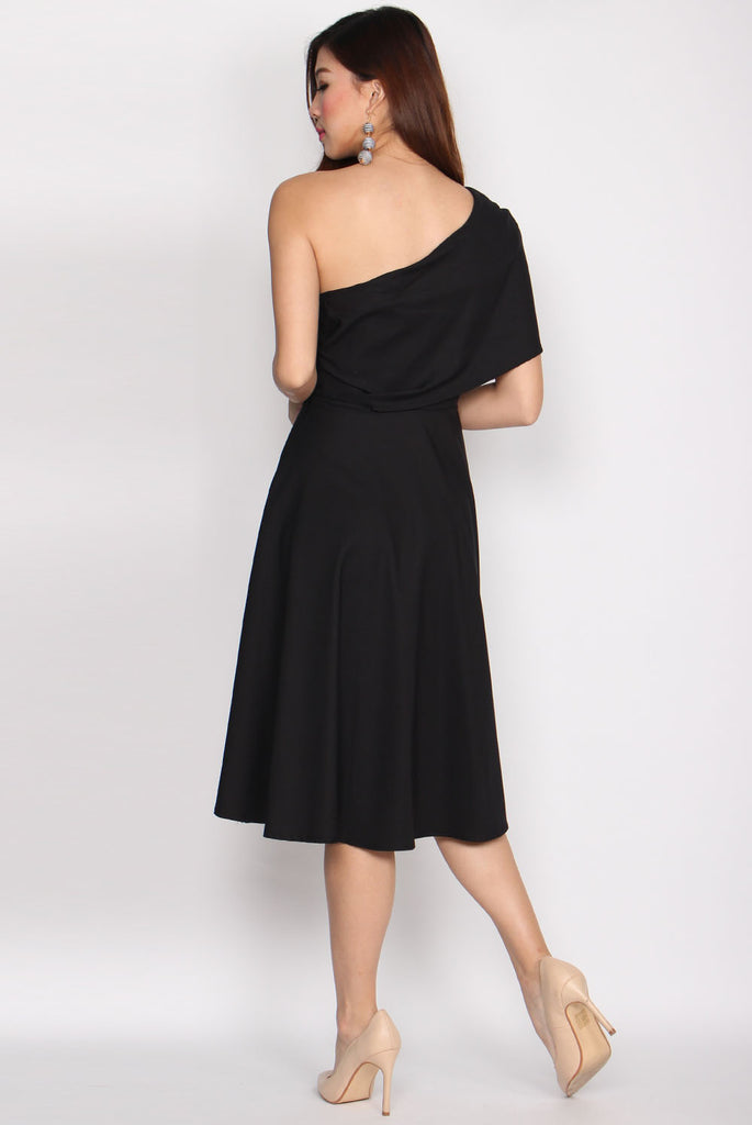 Vianne Wrap Toga Flare Dress In Black