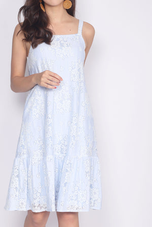 Vidalia Lace Drop Hem Dress In Sky Blue