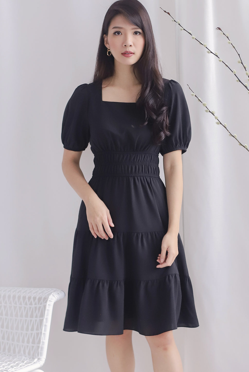 Waleria Smocked Waist Dress In Black