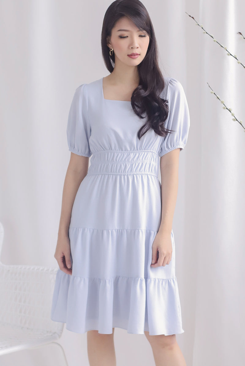 Waleria Smocked Waist Dress In Skyblue