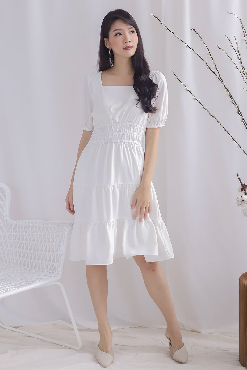 Waleria Smocked Waist Dress In White