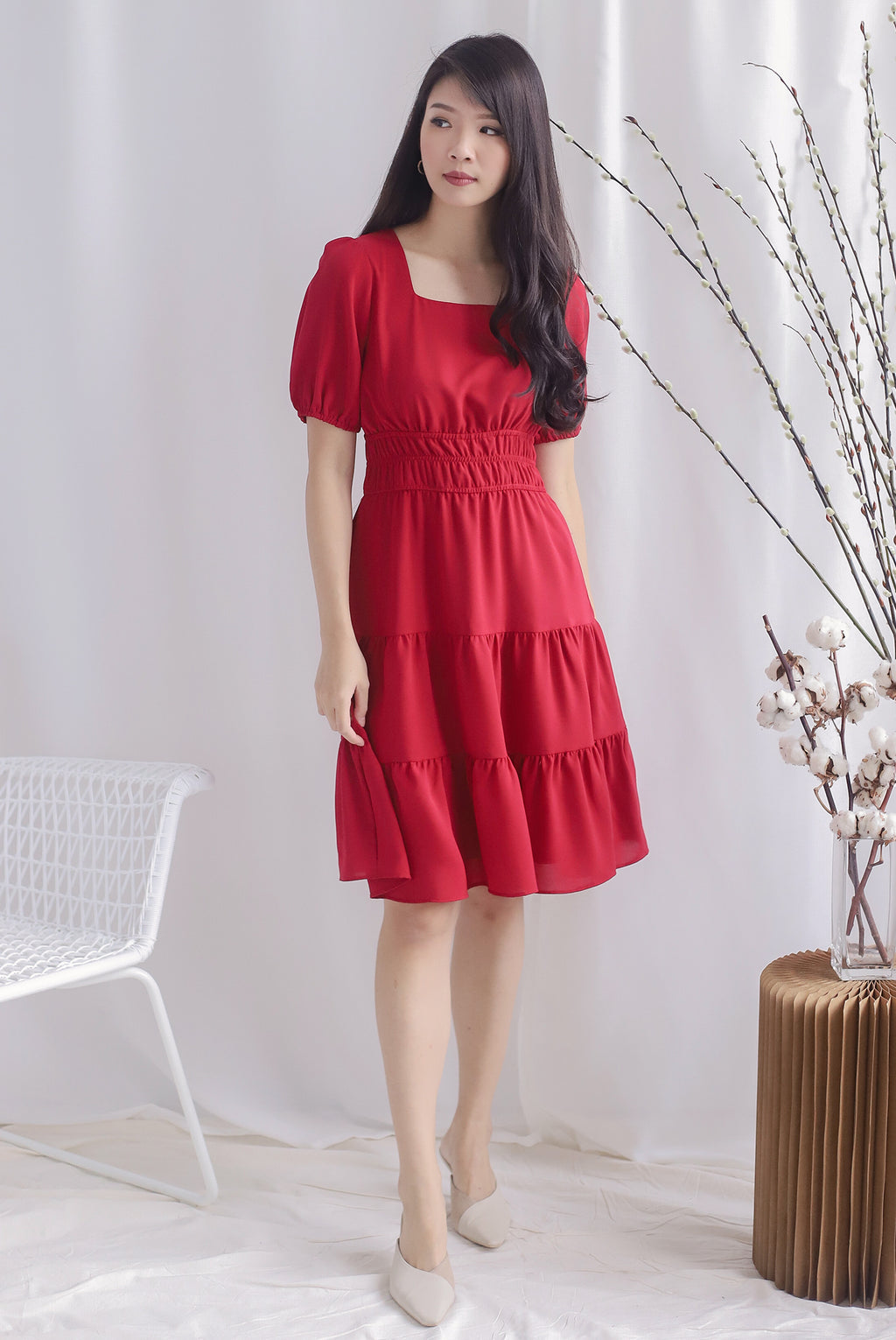 Waleria Smocked Waist Dress In Wine Red