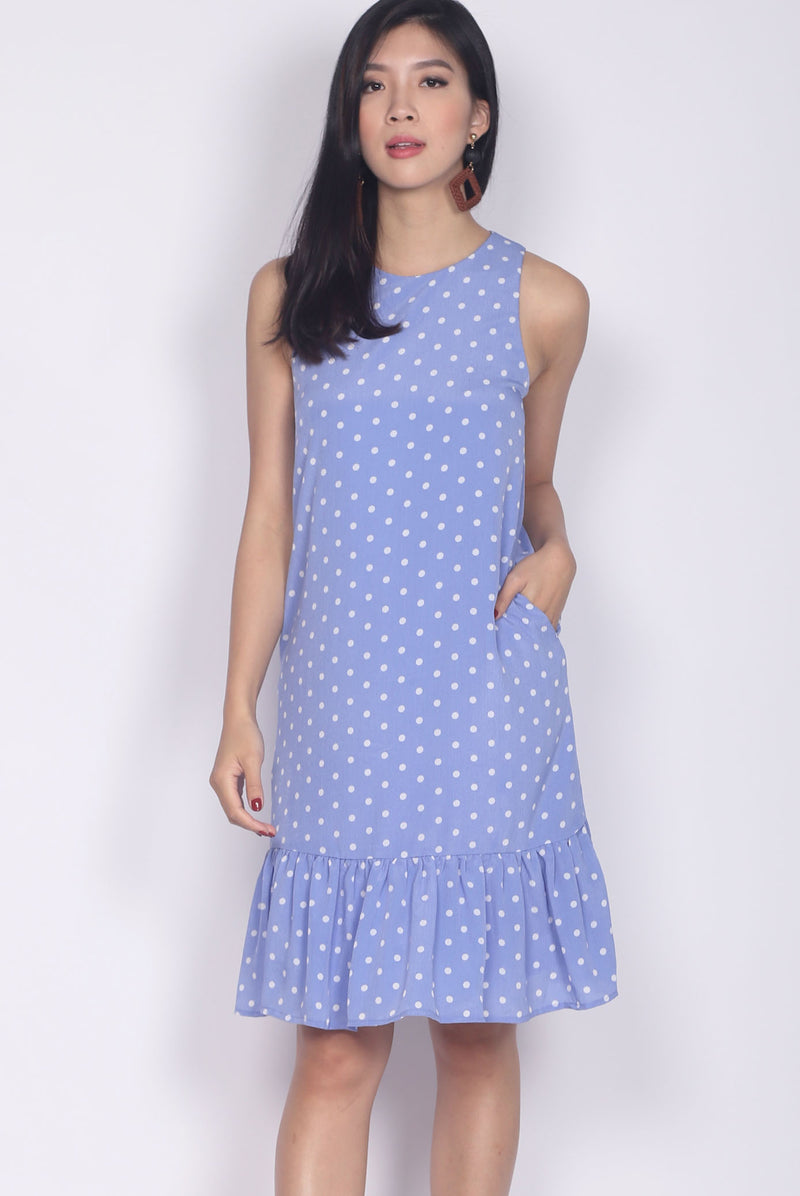 Wendolyn Polkadot Dropwaist Dress In Periwinkle