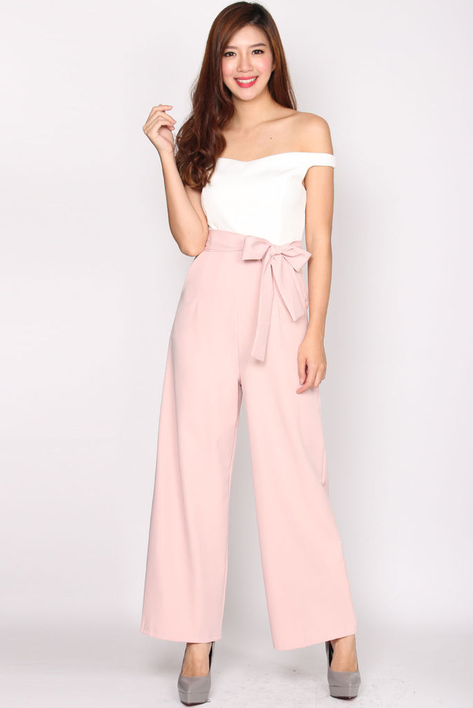Wenona Duo Tone Off Shoulder Jumpsuit In Blush