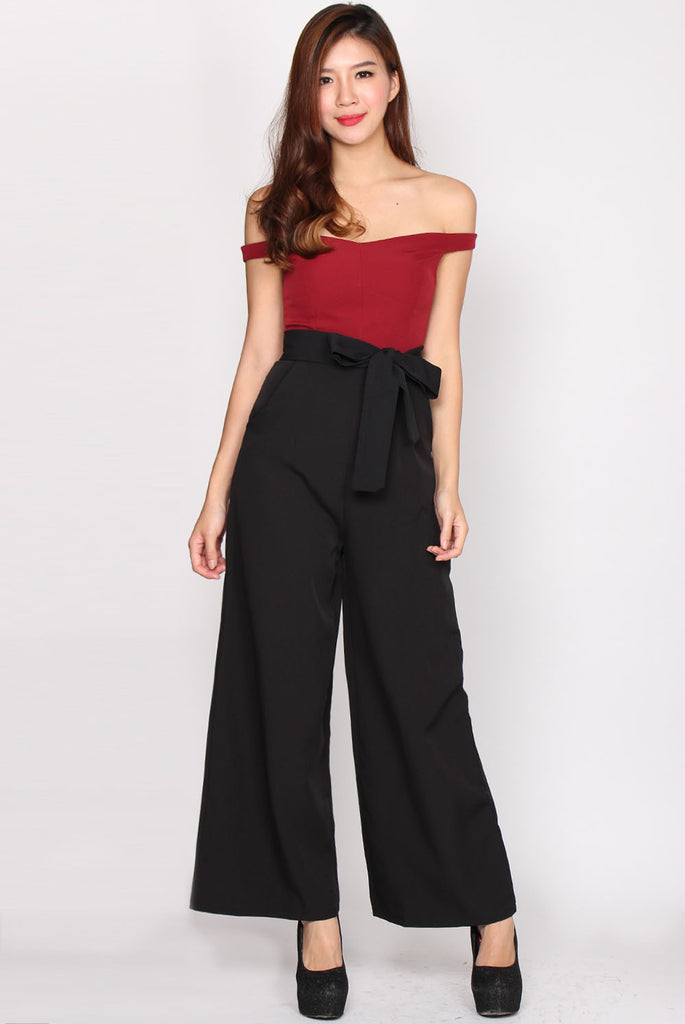 Wenona Duo Tone Off Shoulder Jumpsuit In Wine Red