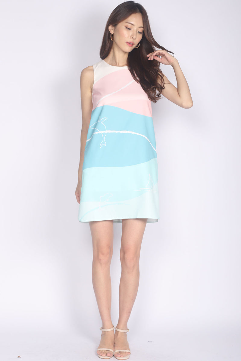 *Backorder* Whale Curve Slit Dress In Pastel Green